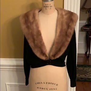 COPY - Vintage fur collar cashmere sweater